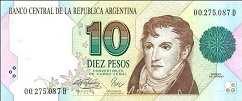 Аргентина: 10 песо (1991 г.)