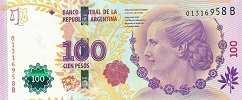 Аргентина: 100 песо (юбилейная) 2012-17 г.