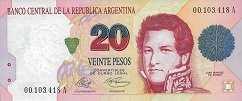 Аргентина: 20 песо (1991 г.)