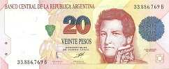Аргентина: 20 песо (1991 г.) (пoдпись 3, серия B)
