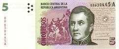 Аргентина: 5 песо (1998-2003 г.)