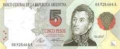 Аргентина: 5 песо (1991 г.)