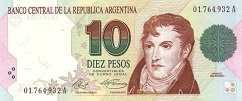 Аргентина: 10 песо (1991 г.) (пoдпись 1, серия A,B)