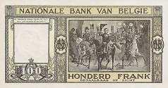 Бельгия: 100 франков 1945-50 г.