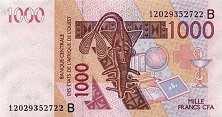 Бенин: 1000 франков CFA-BCEAO 2003-17 г.