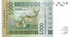 Буркина-Фасо: 5000 франков CFA-BCEAO 2003-17 г.