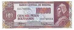 Боливия: 100000 песо 1984 г.