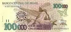 Бразилия: 100000 крузейро (1990 г.) / 100 крузейро рейс (1993 г.)