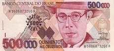Бразилия: 500000 крузейро (1990 г.) / 500 крузейро рейс (1993 г.)
