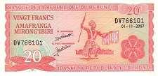Бурунди: 20 франков 1977-2007 г.