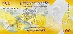 Бутан: 100 нгултрумов (юбилейная) 2016 г.