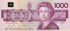 Канада: 1000 долларов 1988 г.