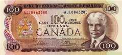 Канада: 100 долларов 1975 г.