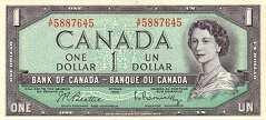 Канада: 1 доллар 1954 г.