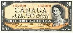 Канада: 50 долларов 1954 г.