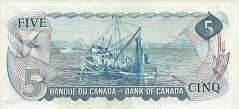 Канада: 5 долларов 1972 г.