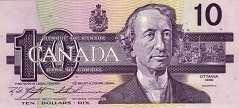 Канада: 10 долларов 1989 г.