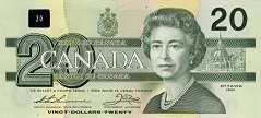 Канада: 20 долларов 1991 г.
