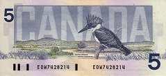 Канада: 5 долларов 1986 г.