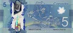 Канада: 5 долларов 2013 г.