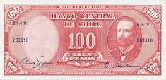 Чили: 100 песо (1958 г.) / 10 сентесимо (1960 г.)