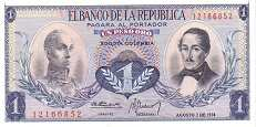 Колумбия: 1 песо 1959-77 г.