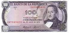 Колумбия: 100 песо 1973-74 г.