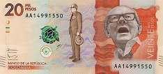 Колумбия: 20000 песо 2015-17 г.