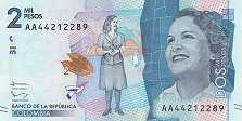 Колумбия: 2000 песо 2015-17 г.