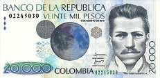 Колумбия: 20000 песо 2001-13 г.