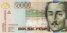Колумбия: 2000 песо 2005-14 г.