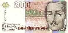 Колумбия: 1000 песо 1996-99 г.