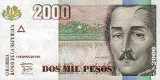 Колумбия: 2000 песо 2000-05 г.