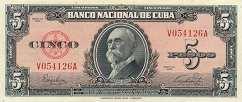 Куба: 5 песо 1949-50 г.