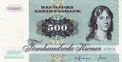 Дания: 500 крон 1972 г.