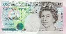 Англия: 5 фунтов 1990-92 г.