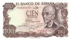 Испания: 100 песет 1970 г.