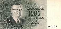 Финляндия: 1000 маркок 1955 г.