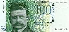 Финляндия: 100 маркок 1986 г.