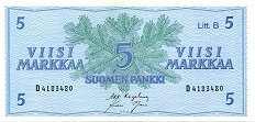 Финляндия: 5 маркок 1963 г.