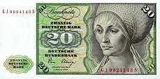 ФРГ: 20 марок 1980 г. (с надписью)