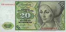 ФРГ: 20 марок 1960-80 г.