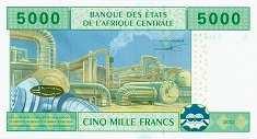 Габон: 5000 франков CFA-BEAC 2002 г.