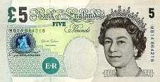 Англия: 5 фунтов 2002-12 г.