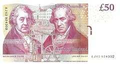Англия: 50 фунтов 2010-15 г.