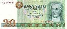 ГДР: 20 марок 1975 г.