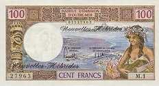 Новые Гебриды: 100 франков (1970 г.)