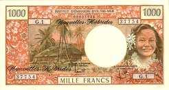 Новые Гебриды: 1000 франков (1970 г.)
