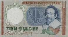 Нидерланды: 10 гульденов 1953 г.