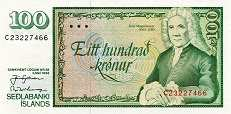 Исландия: 100 крон 1986 г.